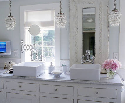 Shabby Chic White U0026 Blue Bathroom Design   Glass Crystal Pendants,  Overmount Porcelain Sinks, White Bathroom Cabinets, White Washed Wood  Mirror, ...