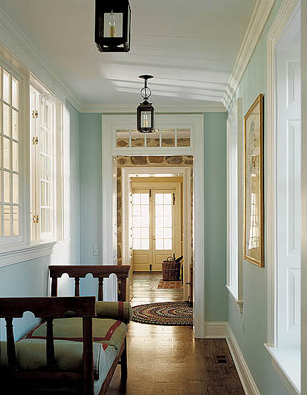 Turquoise hallway country entrance foyer peter for Transom windows
