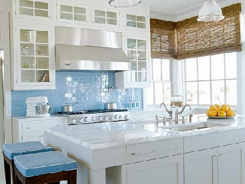 Blue Subway Tiles Backsplash, Glass Front White Kitchen Cabinets, Calcutta  Marble Countertops, Kitchen Island, Bamboo Roman Shades, Stools With Blue  ...