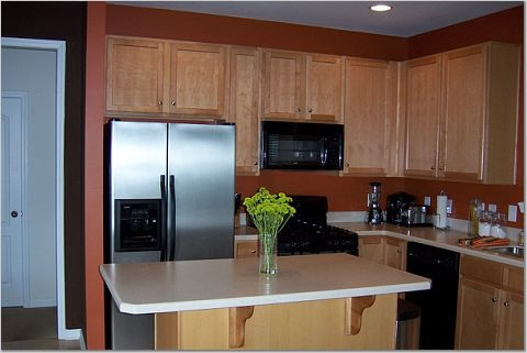 Orange wall paint transitional kitchen sherwin Kitchen wall colors with maple cabinets