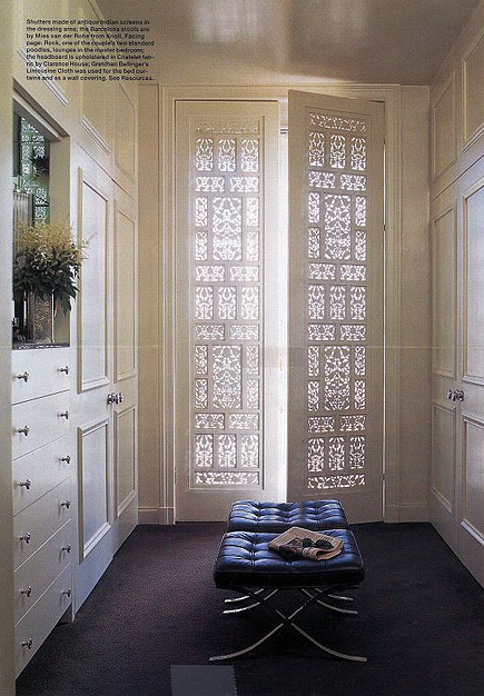 Lattice Doors Transitional Closet Fisher Weisman Interior Design