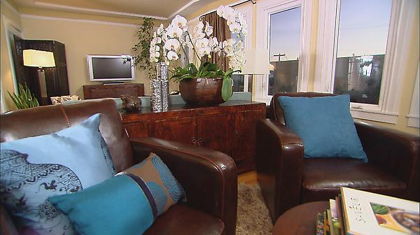 Brown Blue Living Room long living room ideas  transitional  living room  hgtv