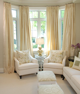 Yellow silk drapes transitional living room sarah for Sitting window design