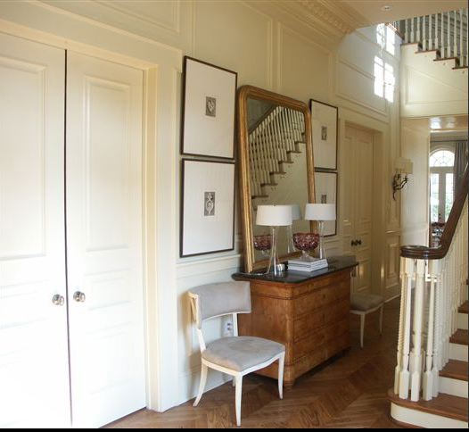 Foyer Mirrors : Gilt foyer mirror transitional entrance