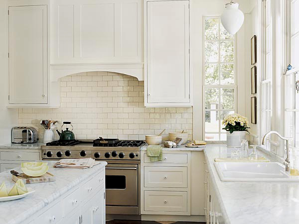 subway tiles backsplash white kitchen cabinets andwhite carrara