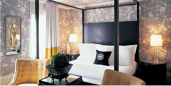 Black canopy bed transitional bedroom kelly wearstler - Black canopy bed curtains ...