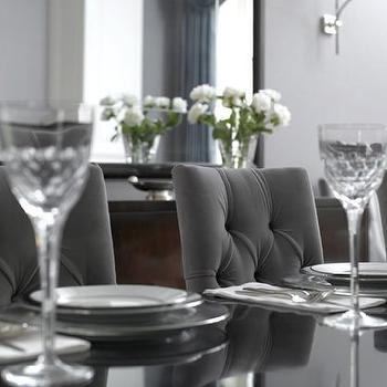 Gray Velvet Dining Chairs, Transitional, dining room