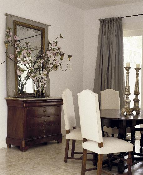 Dining Room Antique Chest Mirror Black Table Chairs And Gray Silk Drapes