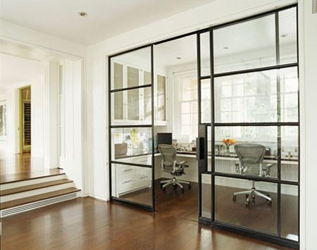 Gorgeous Glass Sliding Doors And U Shaped Built In Desk For Two.