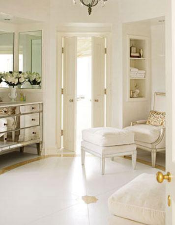 Mirrored Bathroom Vanity - French - bathroom - House Beautiful