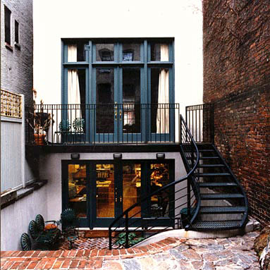 Row House Patio Transitional Home Exterior