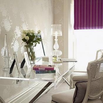 Lucite Desk, Transitional, den/library/office, Purple Design