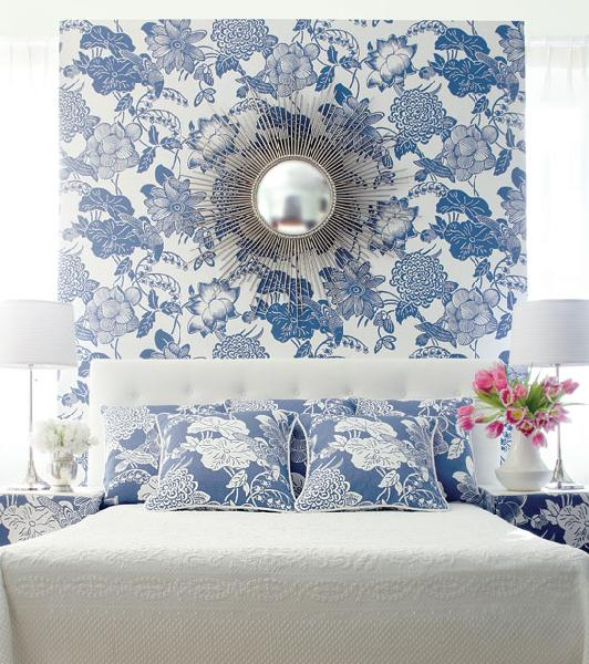 Wallpaper accent wall transitional bedroom house for Blue and white bedroom wallpaper