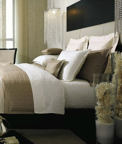 Decorative coral contemporary bedroom kelly hoppen for Black white taupe bedroom