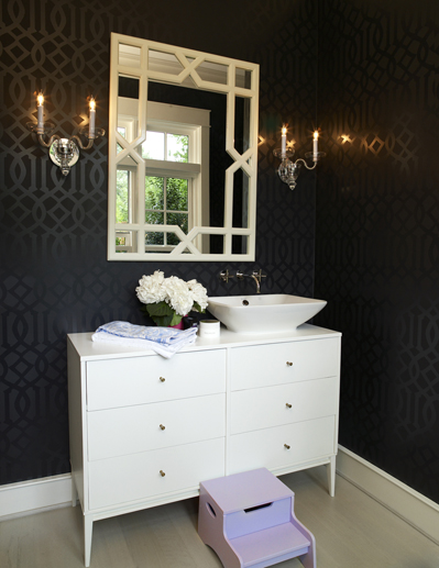 Imperial trellis wallpaper eclectic bathroom house for Bathroom wallpaper