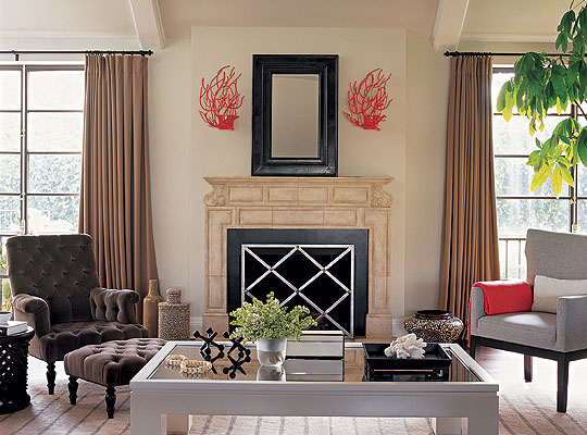 Coral wall decor contemporary living room burnham design for Coral walls living room