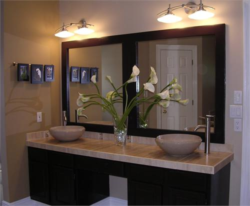Floating Double Sink Vanity With Framed Mirror! Overmount Granite Sinks And  Granite Countertops!