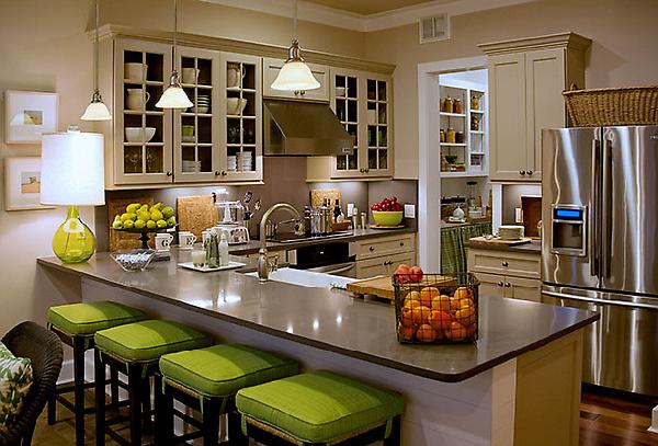 Green Home Ivory Kitchen Design With Cushions On Black Counter Bar Stools Cream Cabinets Gl Doors Gray Granite