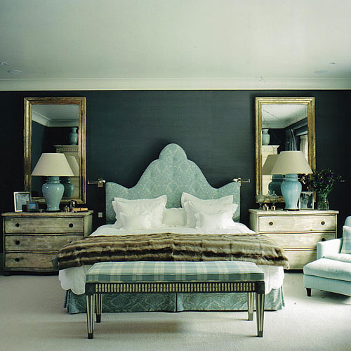 Turquoise Damask Headboard, Transitional, bedroom, Nicholas Haslam