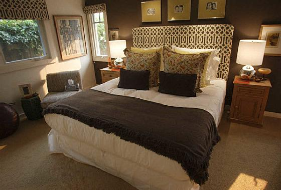 Trellis headboard transitional bedroom oc register for Dark brown bedroom designs