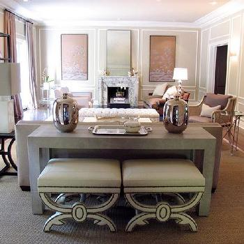 wall accessories for living room. Nailhead Ottomans Fireplace Next To Console Table Design Ideas