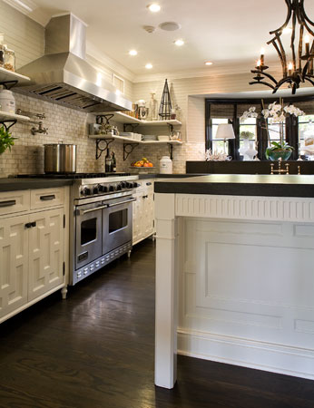 Black pagoda chandelier transitional kitchen brown for White kitchen cabinets with dark wood floors
