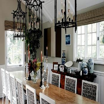 Black Pagoda Lanterns, Eclectic, dining room, Brown Design