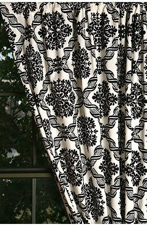 Willowherb Black and White Curtain