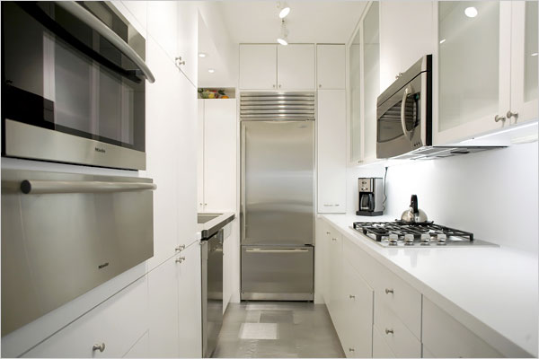 White Galley KItchen, Modern, kitchen