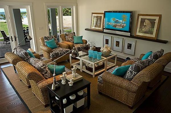 Dream Home Brown Blue Accent Living Room