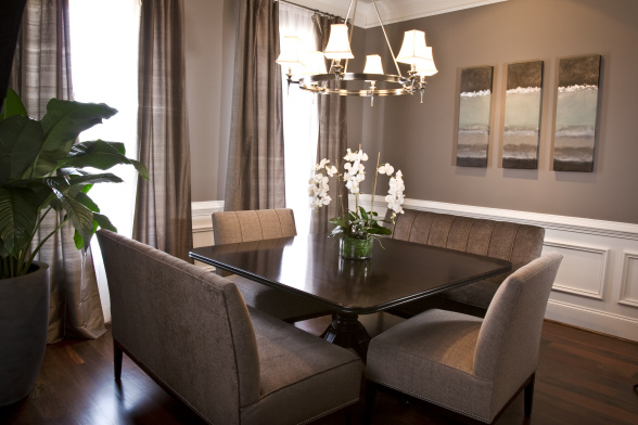 Taupe wall paint transitional dining room benjamin Sophisticated paint colors for living room