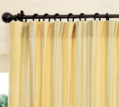 Beautiful Cole Yellow Stripe Silk Drape