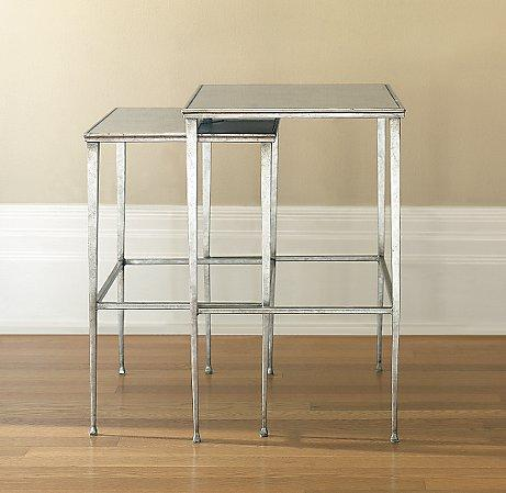 Lucia Square Silver Leaf Nesting Tables