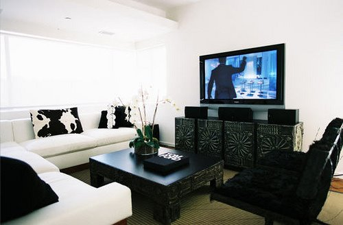 Modern White U0026 Black Living Room Design.