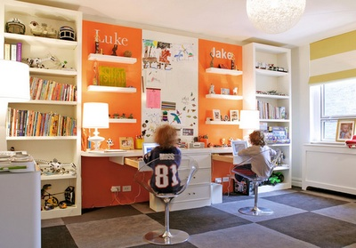 Floating desk contemporary boy 39 s room nathan egan - Orange floating desk ...