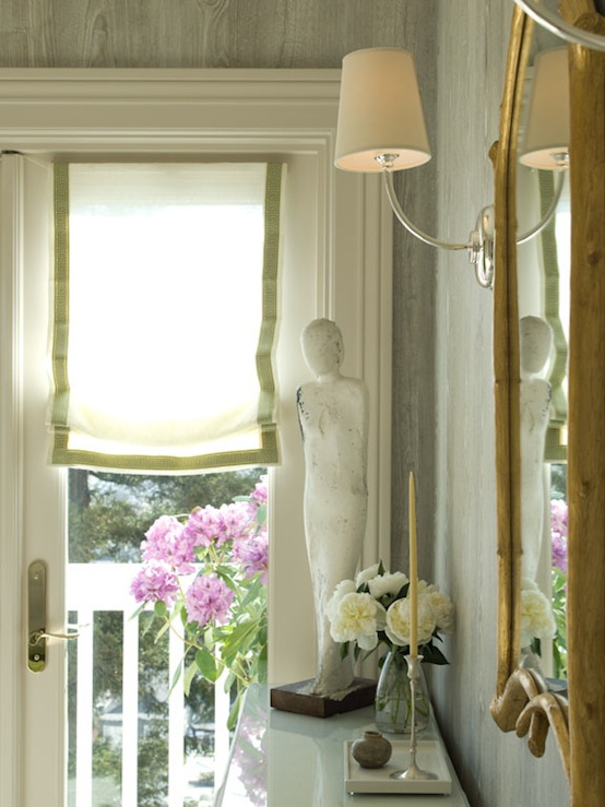 White Roman Shade With Green Trim
