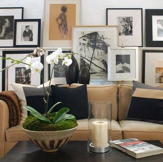 Camel Colored Sofa With Black Accent Pillows And Gorgeous Picture Ledge  Photo Gallery! Brown Black Living Room Colors. Love The Wood Vases! Part 36