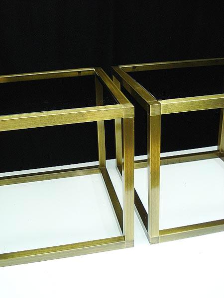 Superb Hollywood Regency Brass And Glass Cube Side Tables