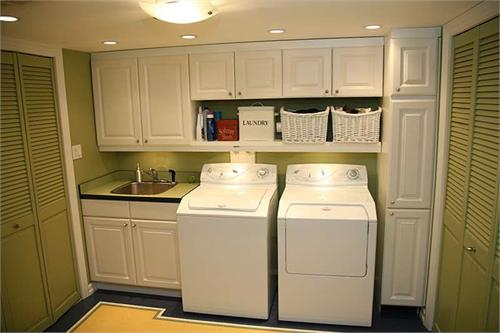 White And Green Laundry Room