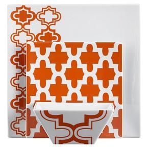sc 1 st  Decorpad & Orange and White Moroccan Pattern Dinnerware