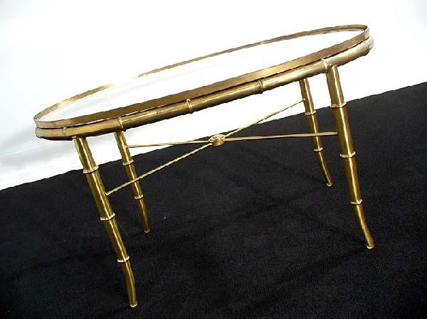 Golden Faux Bamboo Gl Coffee End Table