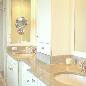 Cream Marble Counters, Transitional, bathroom, Benjamin Moore Linen White, Teresa Meyer Interiors