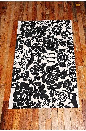 Treasure Black And White Damask Printed Rug