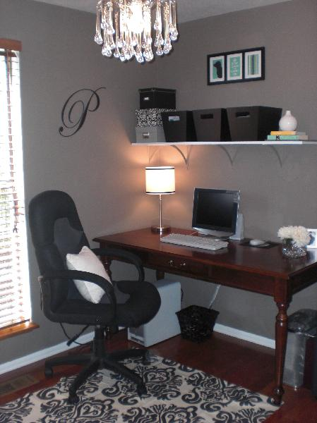 grays office. black white blue home office and damask rug desk urban outfitters teardrop chandelier gray walls grays