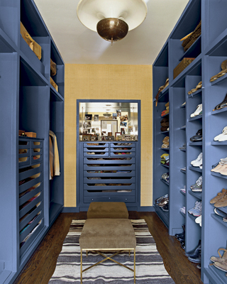 Blue Built In Cabinets Eclectic Closet Nate Berkus