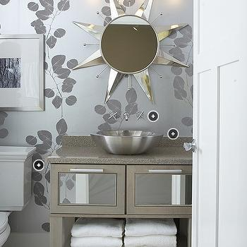 Silver Leaf Wallpaper, Contemporary, bathroom, Kohler