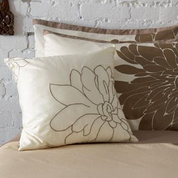 Brown And Cream Floral Throw Pillow