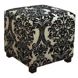 Black and Beige Damask Cube Ottoman