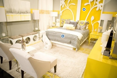 Gray and Yellow Bedroom - Contemporary - bedroom - HGTV