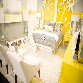 Gray and Yellow Bedroom, Contemporary, bedroom, HGTV